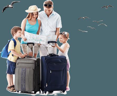 Rodzina z walizkami w podróży