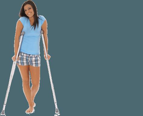 Kobieta o kulach z kontuzją nogi